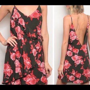 Sexy Boho Spaghetti Strap Floral Wrap Dress Sz M